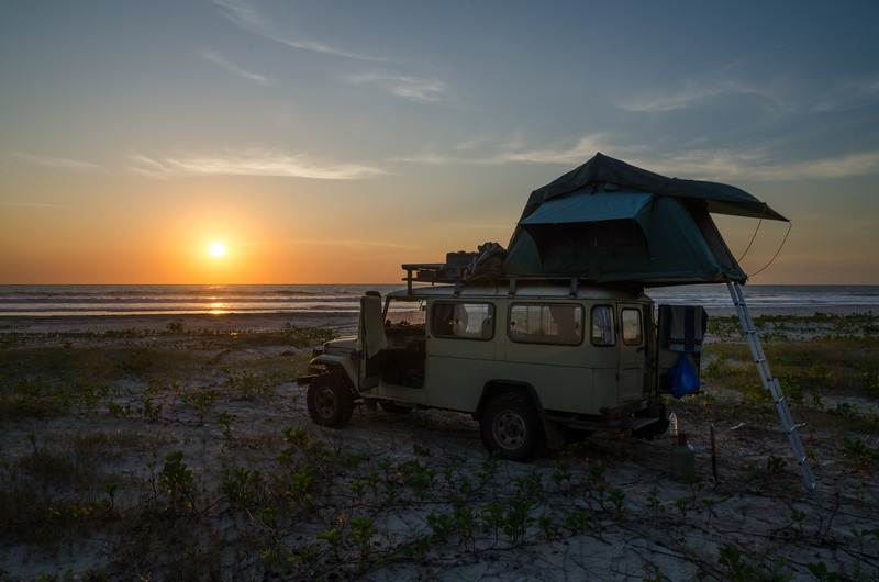beach camping -top roof tent camping